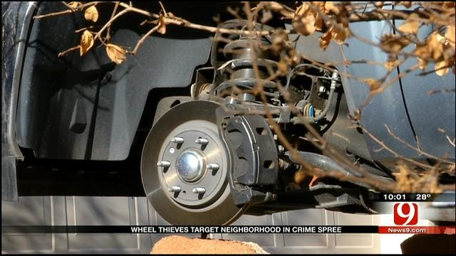 Thieves Steal Tires, Wheels Off Vehicles In SW OKC