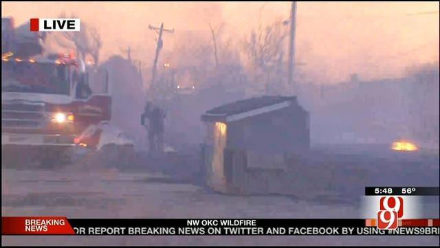 WEB EXTRA: Bob Mills SkyNews9 HD Flies Over Grass Fire In Edmond