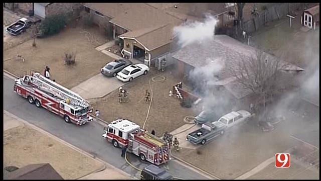 SkyNews 9 Flies Over House Fire In NE OKC