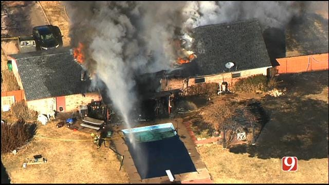 WEB EXTRA: SkyNews 9 Flies Over Large House Fire In Piedmont