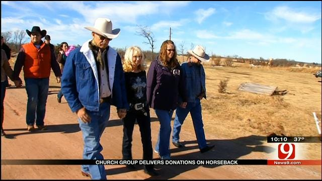 Cowboy Deliver Early Christmas Presents To OK Tornado Victims