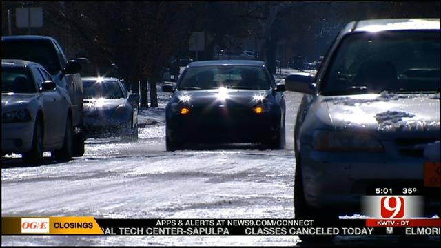 OKC Drivers Still Dealing With Icy Neighborhood Streets