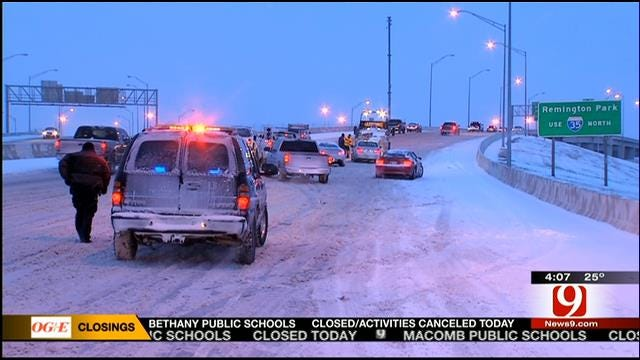 Early-Morning Commuters Battle Snow-Packed Highways In OKC