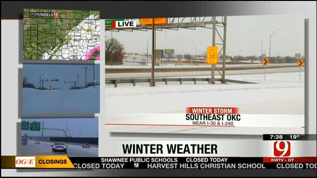 Cars Slip, Slide Across OKC Metro