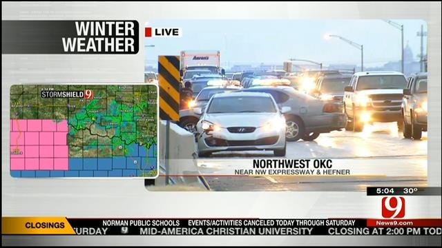 Multiple Accidents Reported As Winter Weather Moves Across OK