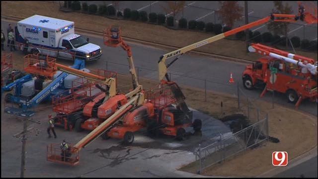 WEB EXTRA: SkyNews 9 Flies Over Crane Accident In SE OKC