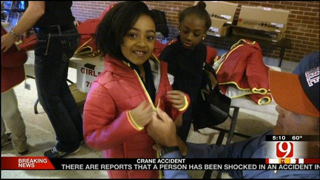OKC Firefighters Surprise Elementary Students With Coats