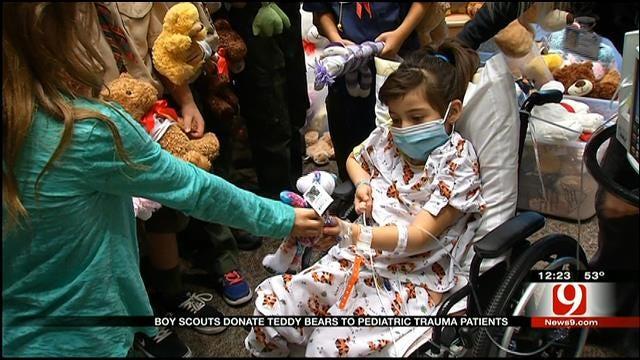 Scouts Donate Teddy Bears To Hospitalized Kids In OKC