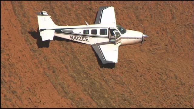WEB EXTRA: Bob Mills SkyNews 9 HD Flies Over Guthrie Plane Crash