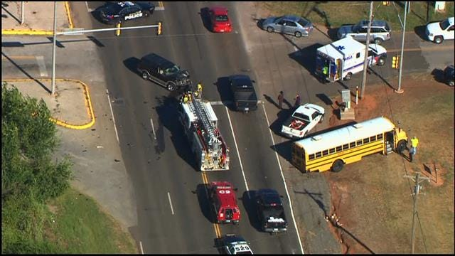 WEB EXTRA: SkyNews 9 Flies Over Collision Involving School Bus In OKC