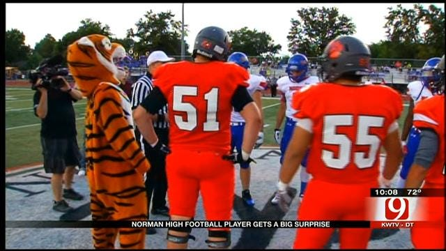 Air Force Dad Surprises Son, Norman High Football Player