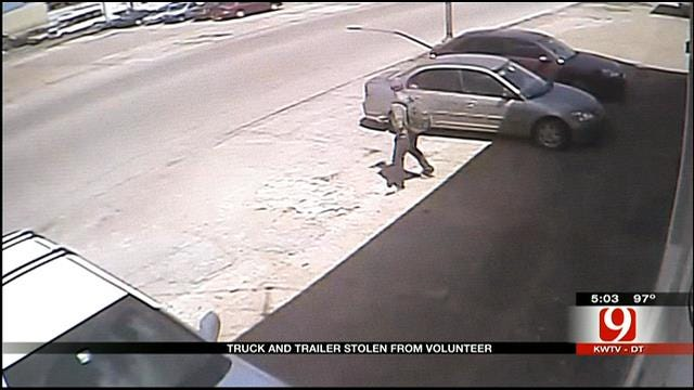 Surveillance Video Shows Thief Steal Truck At Cushing Charity Office