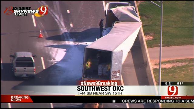 Semi Loses Load Near I-44 In SW OKC