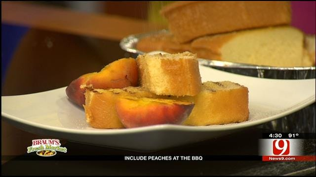 Peaches and Cream Grilled Pound Cake