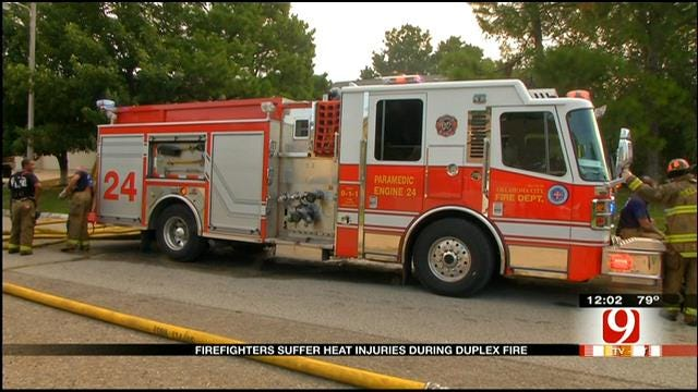 Two Firefighters Treated For Heat Exhaustion Battling OKC Duplex Fire