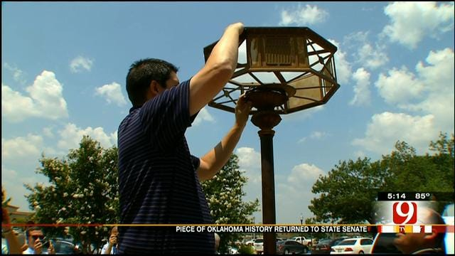 Historic Electric Floor Lamp Returned To State Capitol Tuesday