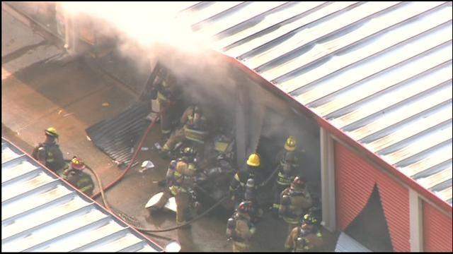 WEB EXTRA: SkyNews 9 Flies Storage Facility Fire In NW OKC