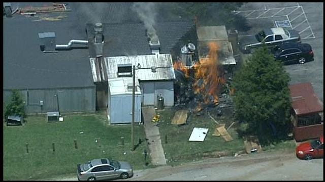 WEB EXTRA: SkyNews 9 Flies Over Fire At 'The Shack'