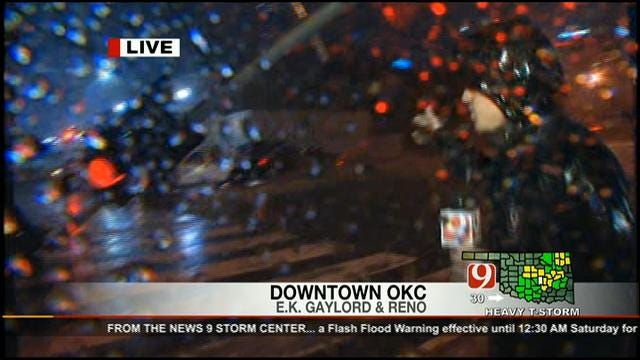 Storms Down Traffic Lights In Downtown OKC
