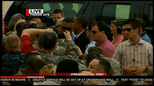 President Obama Visits With First Responders, Tornado Victims