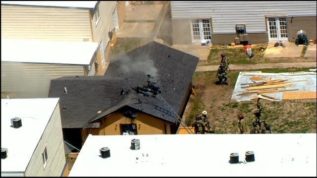 WEB EXTRA: Bob Mills SkyNews 9 Flies Over Fire At NW OKC Apartment Complex