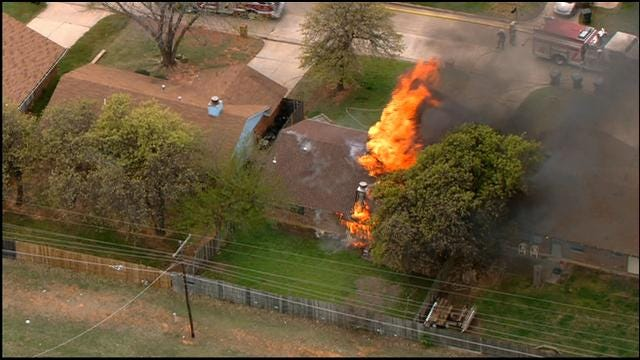 WEB EXTRA: SkyNews 9 Flies Over House Fire In Midwest City
