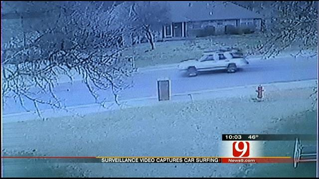 Home Surveillance Footage Captures Edmond 'Car Surfing' Accident