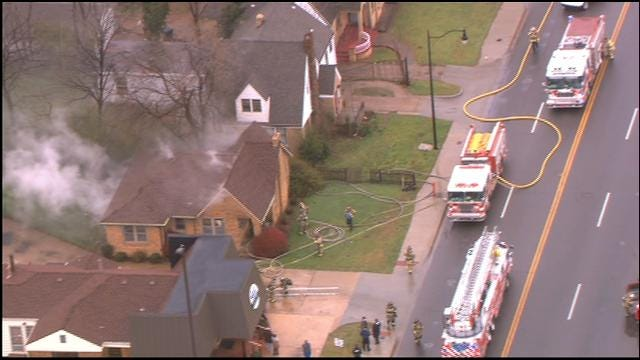 WEB EXTRA: Bob Mills SkyNews 9 Flies Over House Fire In NW OKC