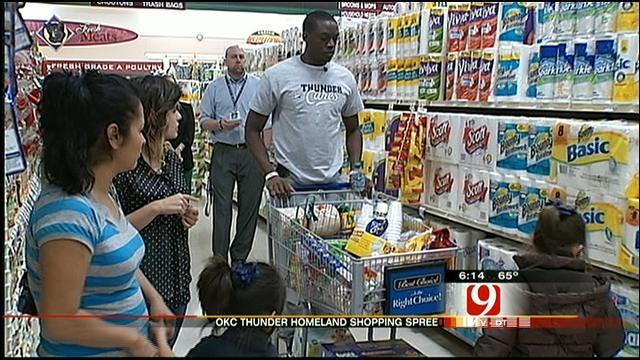 Thunder's Reggie Jackson Shops With Needy OKC Family