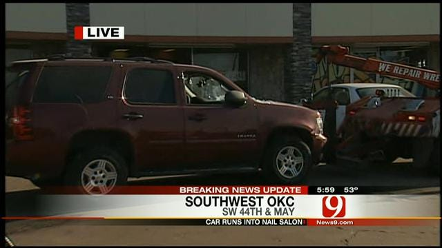 At Least One Injured After SUV Crashes Into SW OKC Nail Salon