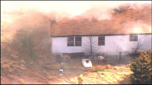 WEB EXTRA: SkyNews 9 Flies Over House Fire In Harrah