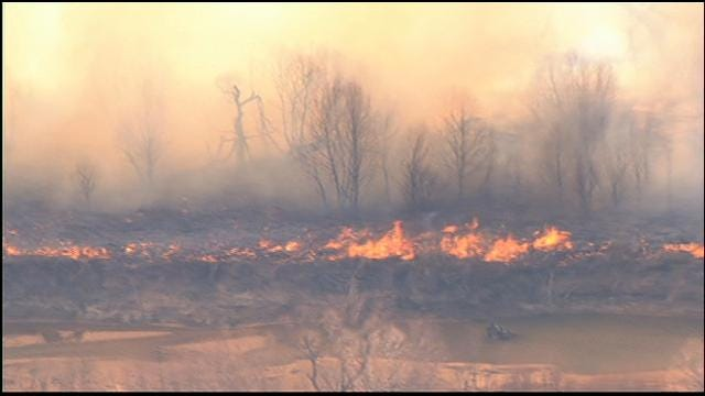 WEB EXTRA: Grass Fires Burn Near Terlton