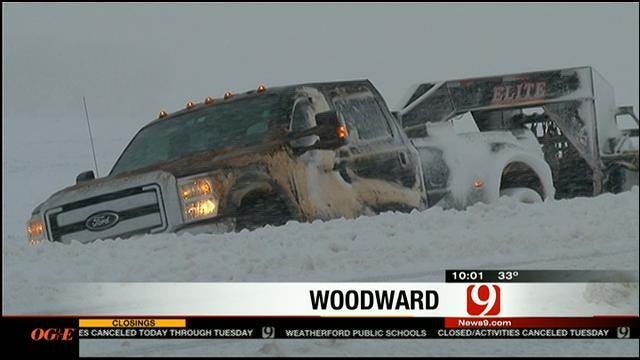 Near White-Out Conditions In Woodward Due To Winter Storm