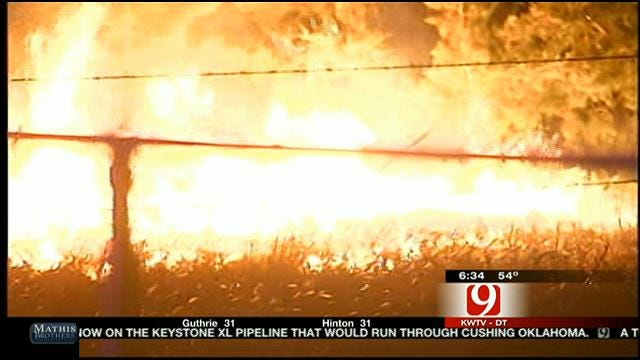 Grass Fire Damages Home In NW OKC