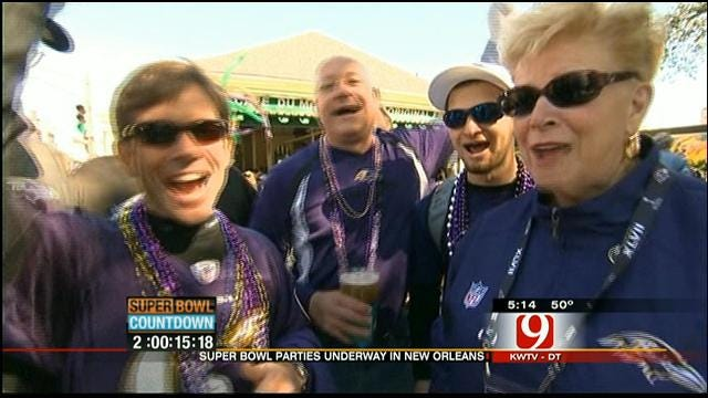 Super Bowl Fans Line Up Bourbon Street In New Orleans