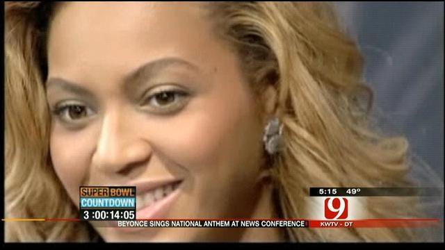 Beyonce Sings To Media Ahead Of Super Bowl Performance