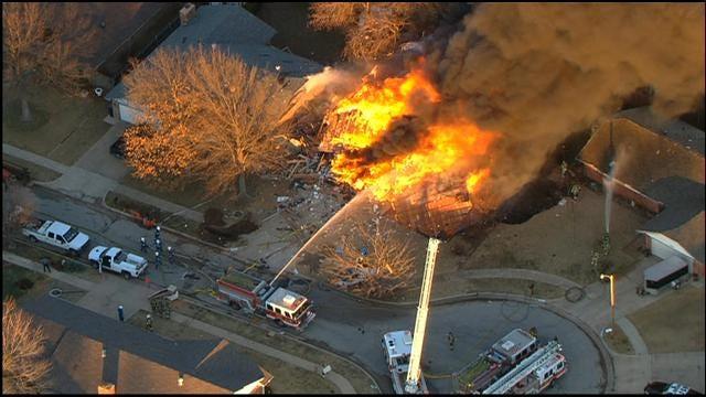 WEB EXTRA: SkyNews 9 Flies Over SW OKC Home Explosion, Part I