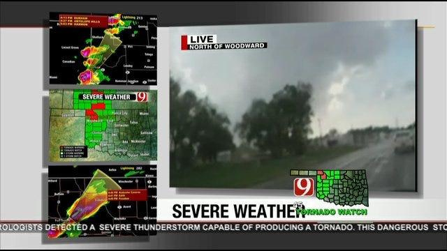 News 9 StormTrackers Follow Wall Cloud Near Woodward