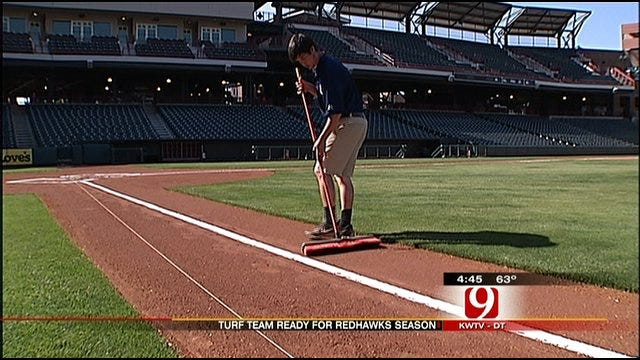 Turf Crew Busy Preparing For OKC RedHawks Opening Day