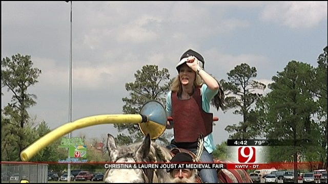 Christina, Lauren Learn Jousting Skills At Norman Medieval Fair