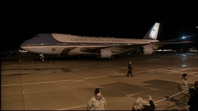 Air Force One Lands At Tinker