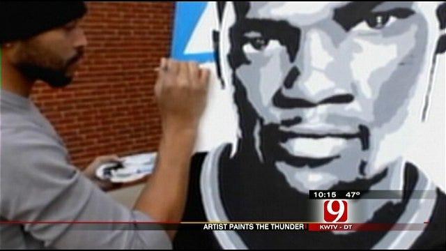 Bricktown Artist Paints OKC Thunder Players