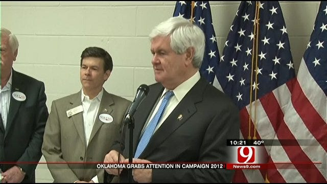 Newt Gingrich Schedules Stops In OKC, Tulsa Monday