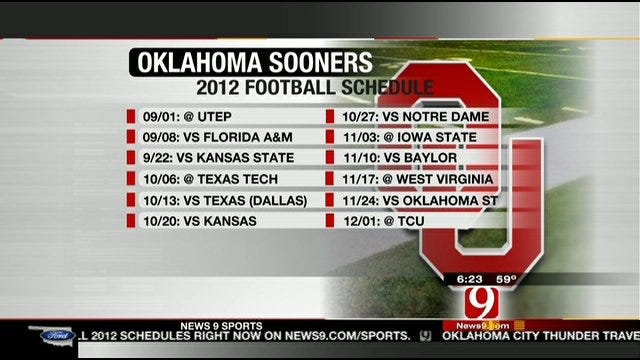 OU Releases 2012 Non-Conference Football Schedule