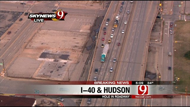 Large Hole On Highway Shuts Down Parts Of I-40 In OKC