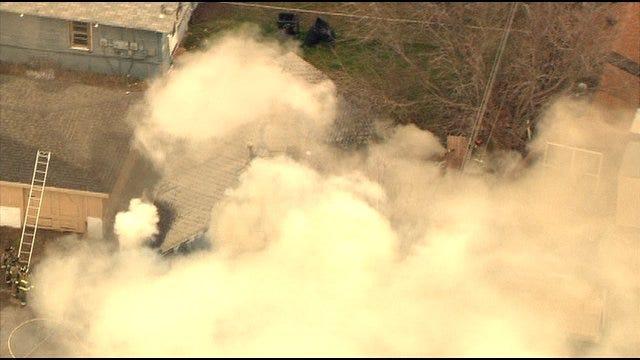 WEB EXTRA: SkyNews 9 Flies Over SW OKC House Fire