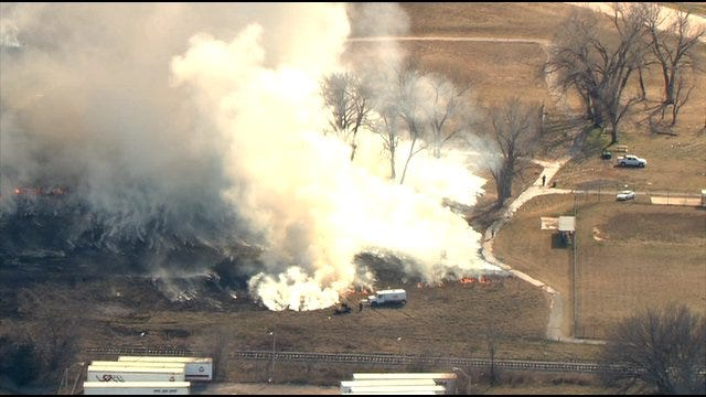 Firefighters Battle Grassfire In Oklahoma County