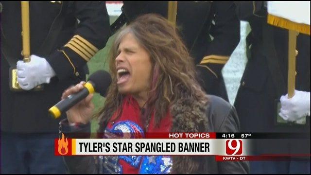 Hot Topics: Steven Tyler Sings National Anthem