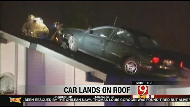 Car Lands On Roof