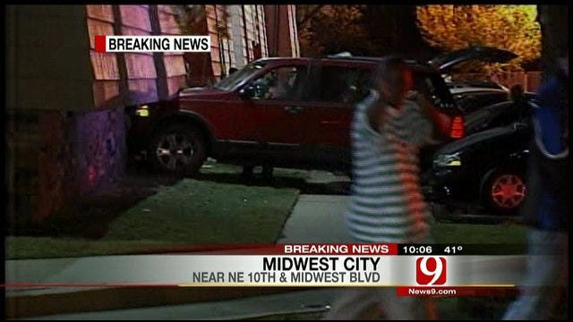 Car Plows Into Midwest City Apartment Building